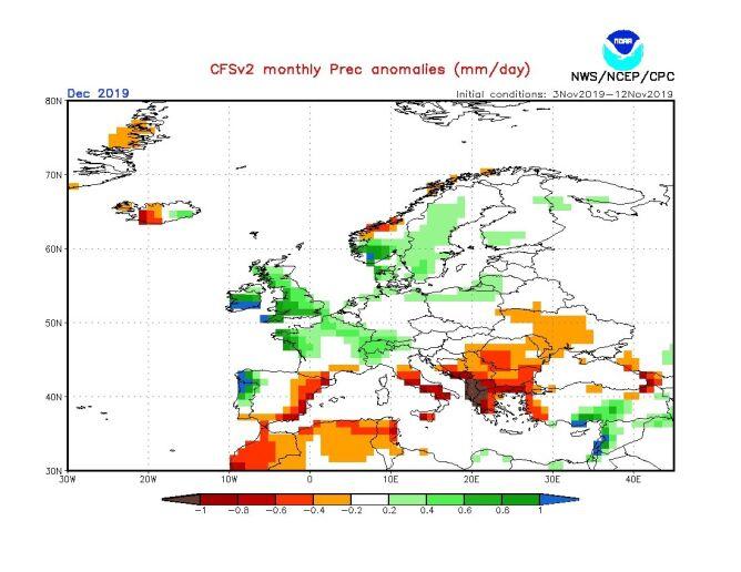 Prognoza odchylenia od średnich miesięcznych opadów dla grudnia 2019 roku według modelu (NOAA)