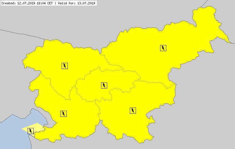 Ostrzeżenia meteorologiczne dla Słowenii (meteoalarm.eu)