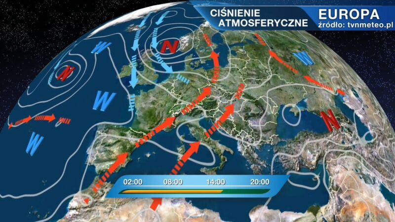 Przepływ mas powietrza nad Europą
