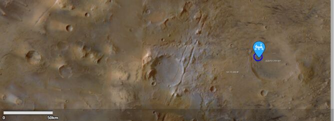 Lokalizacja lądowania łazika (NASA, Perseverance Rover Landing Site Map)