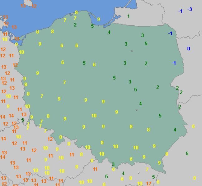 Temperatura minimalna 24 września (wetteronline.de)